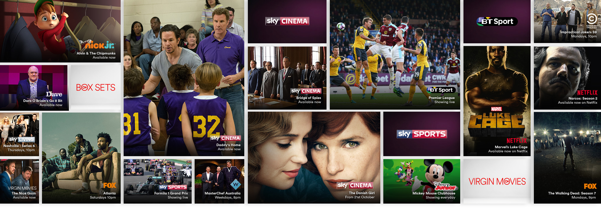 A selection of the TV channels, on demand and Catch Up available with Virgin TV.