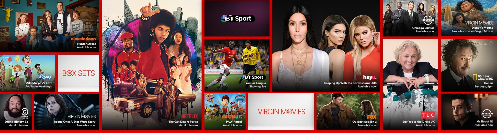 Gallery showing the live TV, catch up and on demand shows available with Big Kahuna