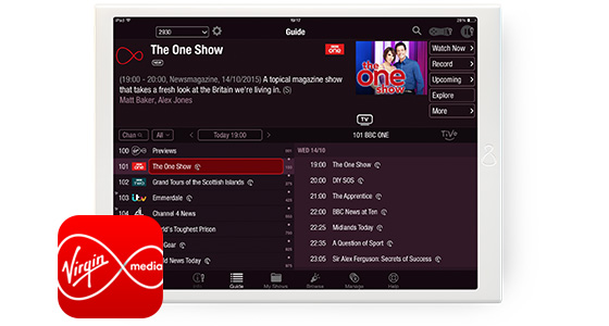 Virgin TVon a tablet with the Virgin TV Anywhere app