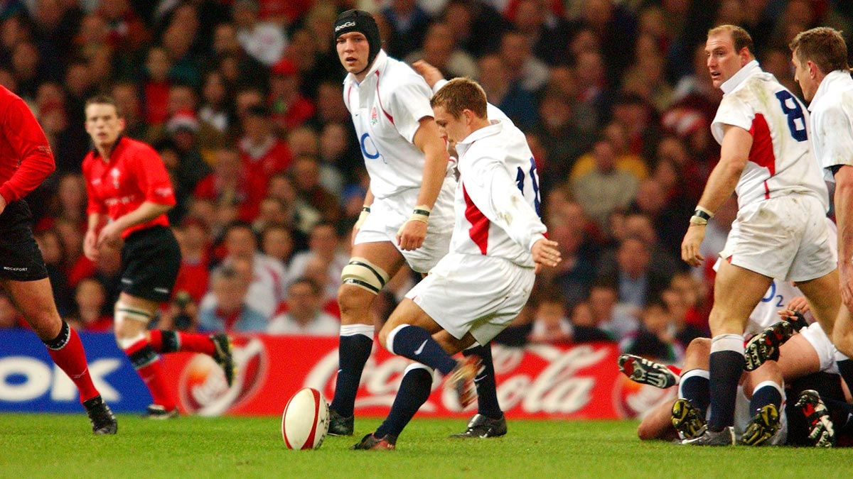 Jonny Wilkinson kicks for England against Wales