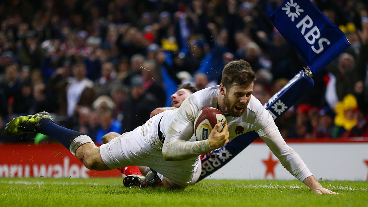 England winger Elliot Daly touching down against Wales