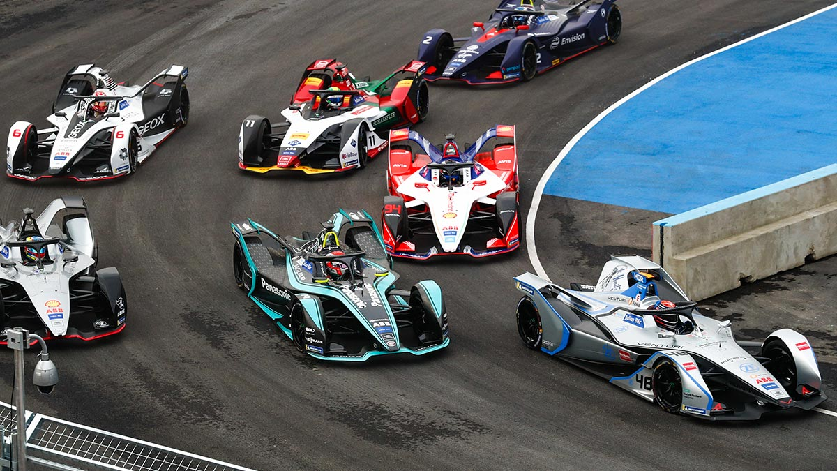 Formula E cars at the Ad Diriyah ePrix