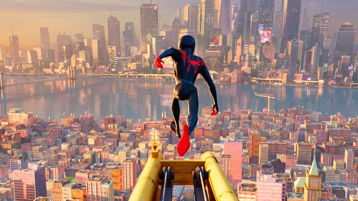 Miles Morales' Spider-Man diving from a crane