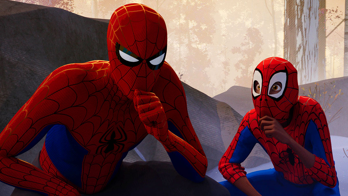 Spider-Man and Miles Morales' Spider-Man in deep thought