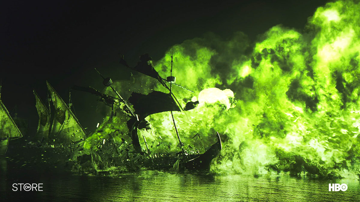 A ship burns in the Battle of Blackwater in Game Of Thrones