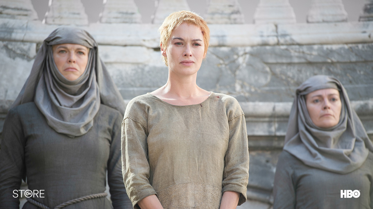 Cersei Lannister (Lena Headey) on trial in Game Of Thrones