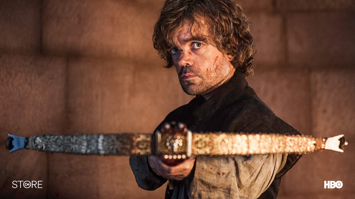 Tyrion Lannister (Peter Dinklage) firing a crossbow in Game Of Thrones