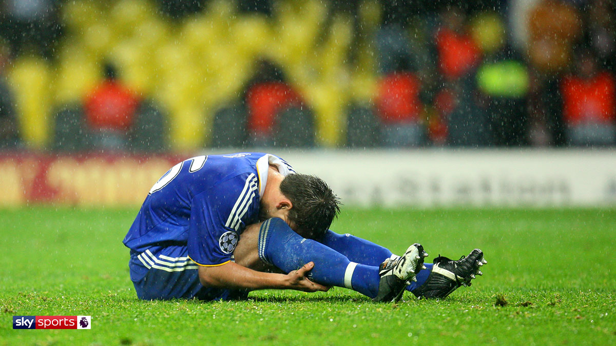Chelsea's John Terry after a penalty miss in the 2008 Champions League final