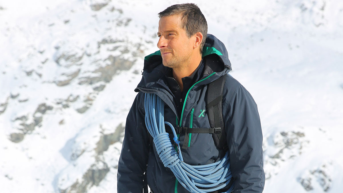 Bear Grylls on a mountain