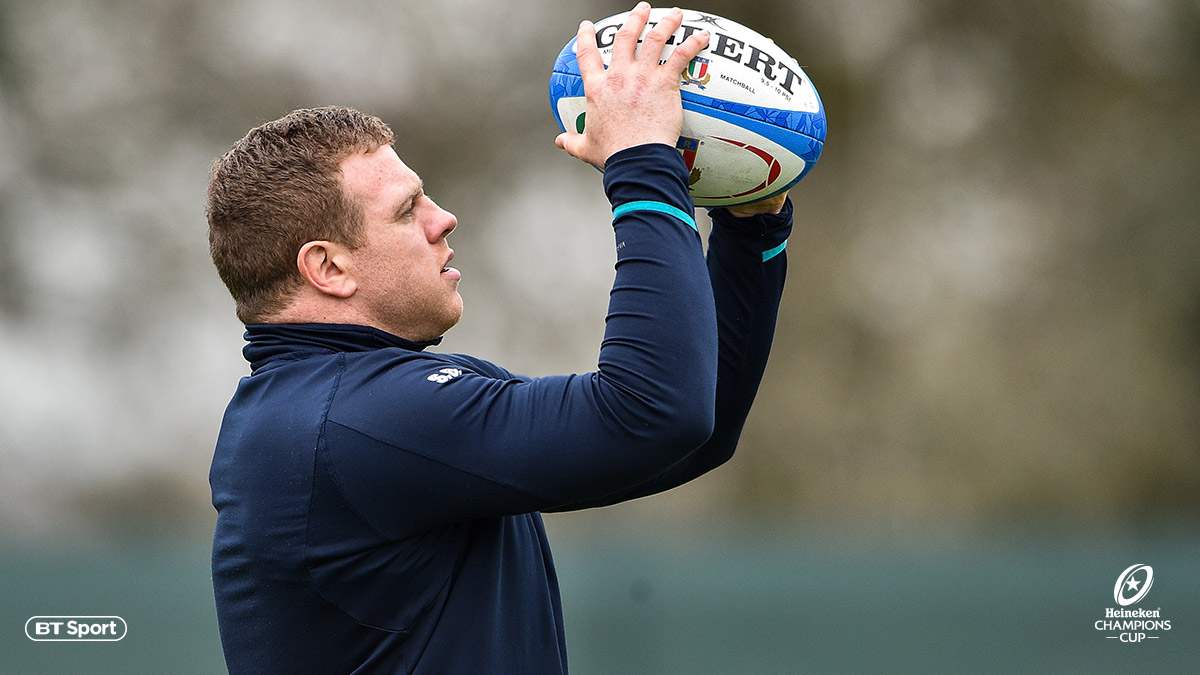 Leinster' player Sean Cronin prepares to throw a rugby ball