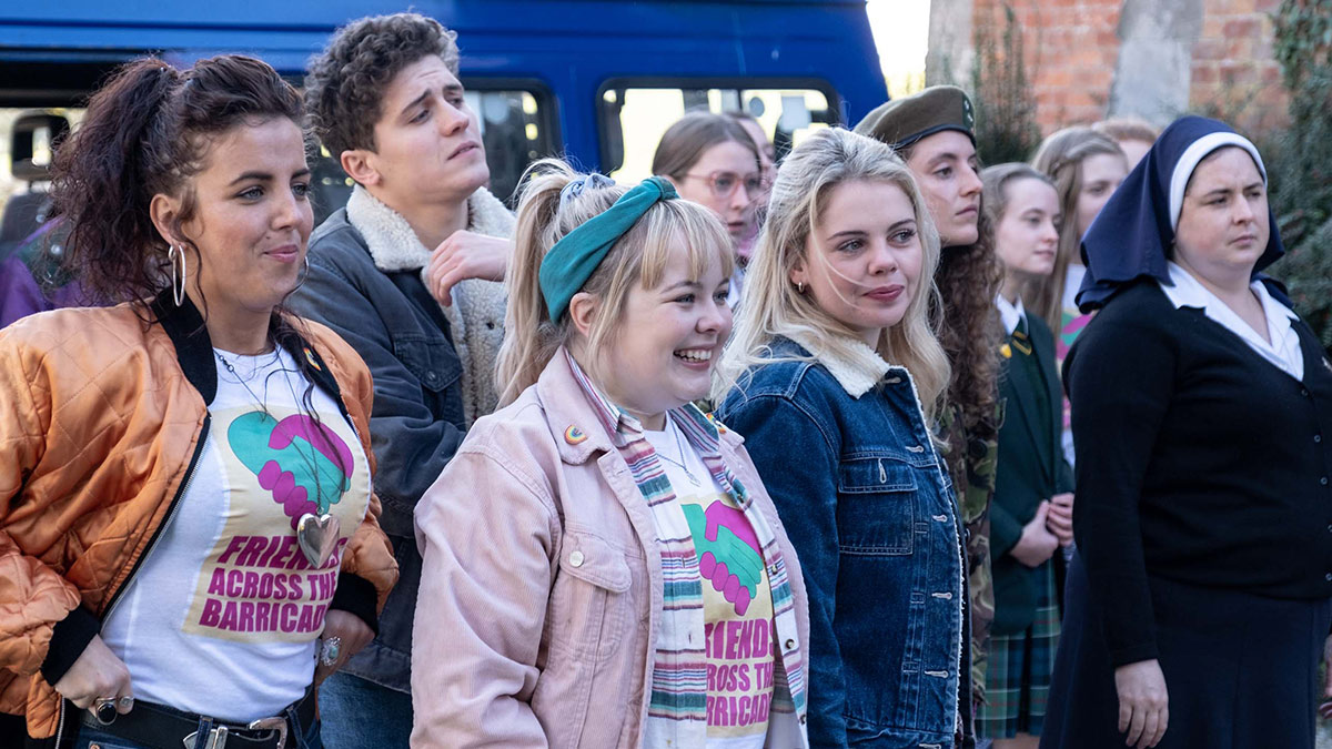 Derry Girls stars Jamie-Lee O'Donnell, Dylan Llewellyn, Nicola Coughlan, Saoirse-Monica Jackson and Louisa Harland