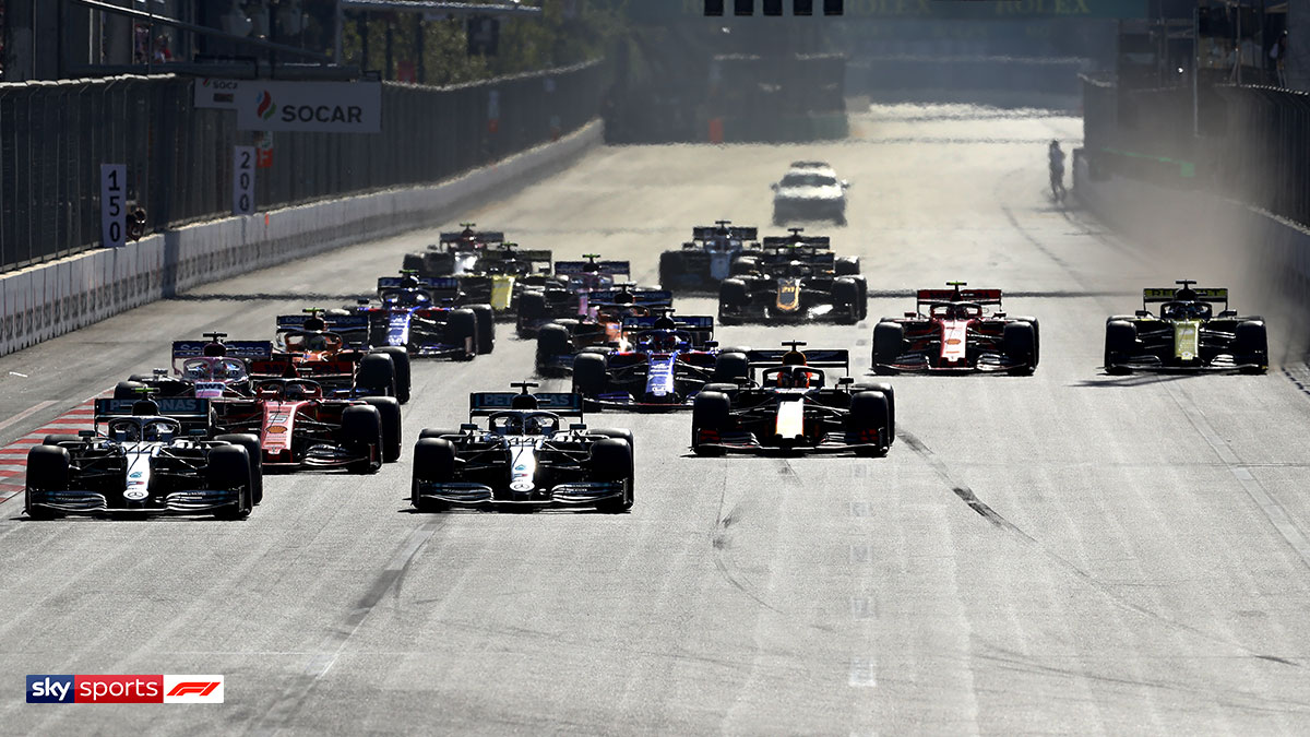 Formula One cars racing