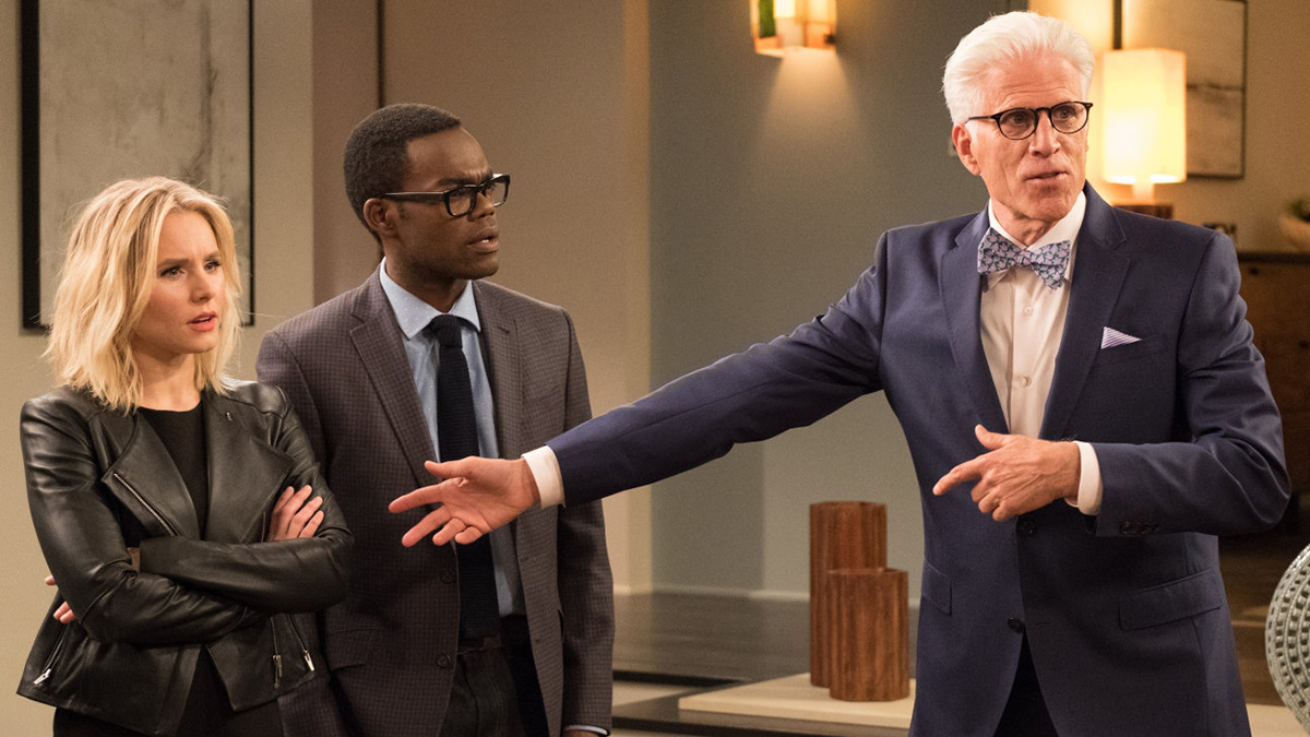 The Good Place stars Kristen Bell, William Jackson Harper and Ted Danson