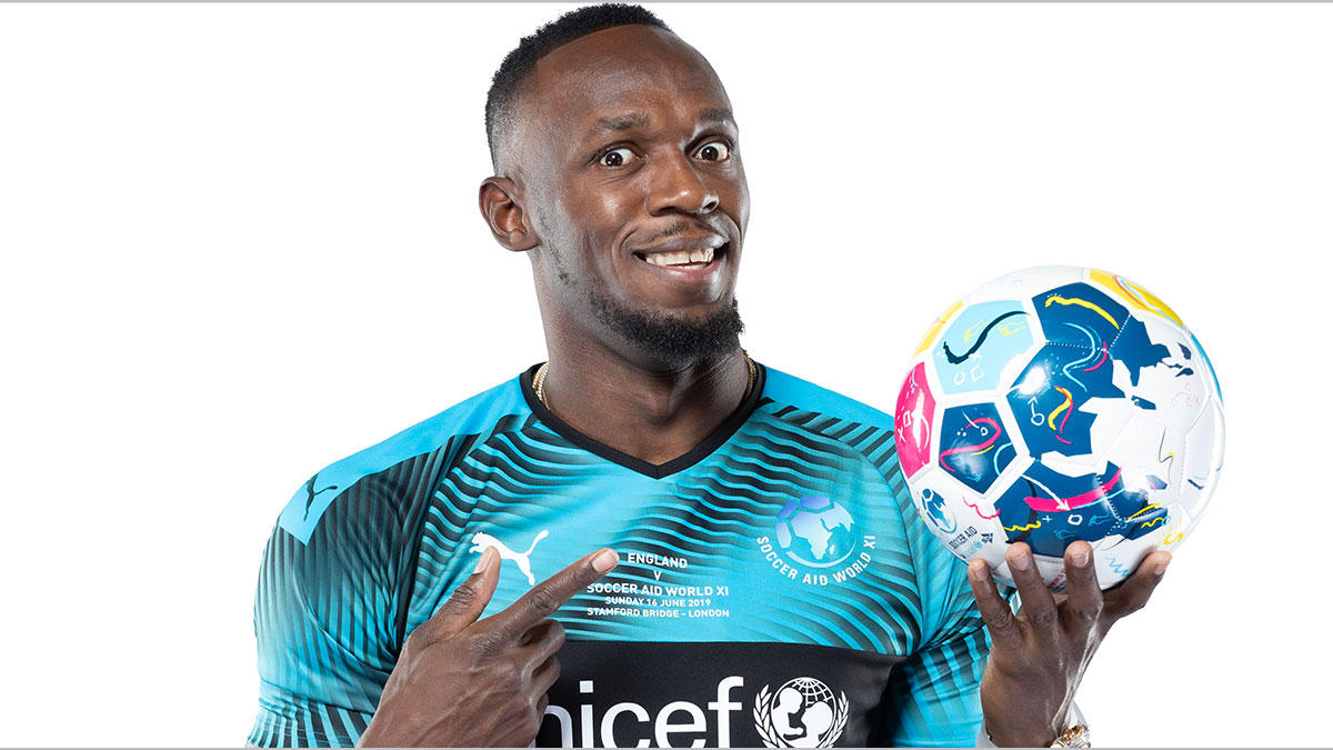 Soccer Aid player Usain Bolt