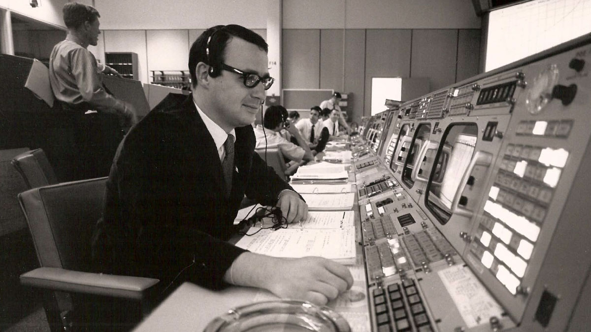 Steve Bales, guidance officer for Apollo 11, at mission control in 1969