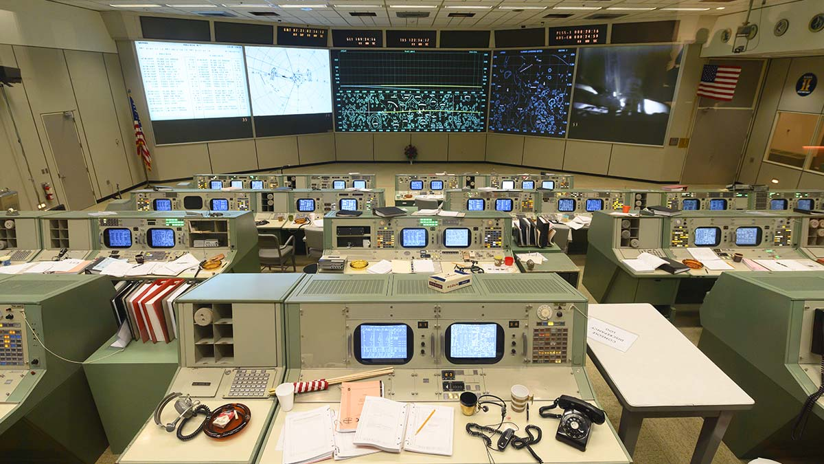The Apollo mission control room at NASA's Johnson Space Center in Houston, Texas