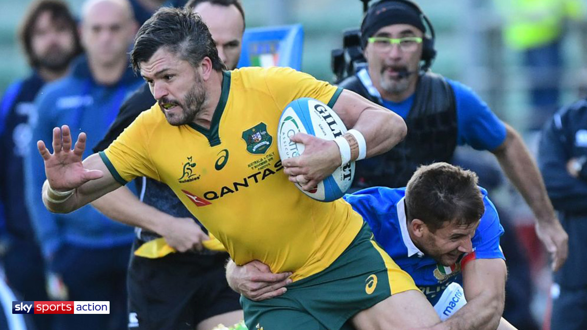 Rugby player Adam Ashley-Cooper playing for Australia