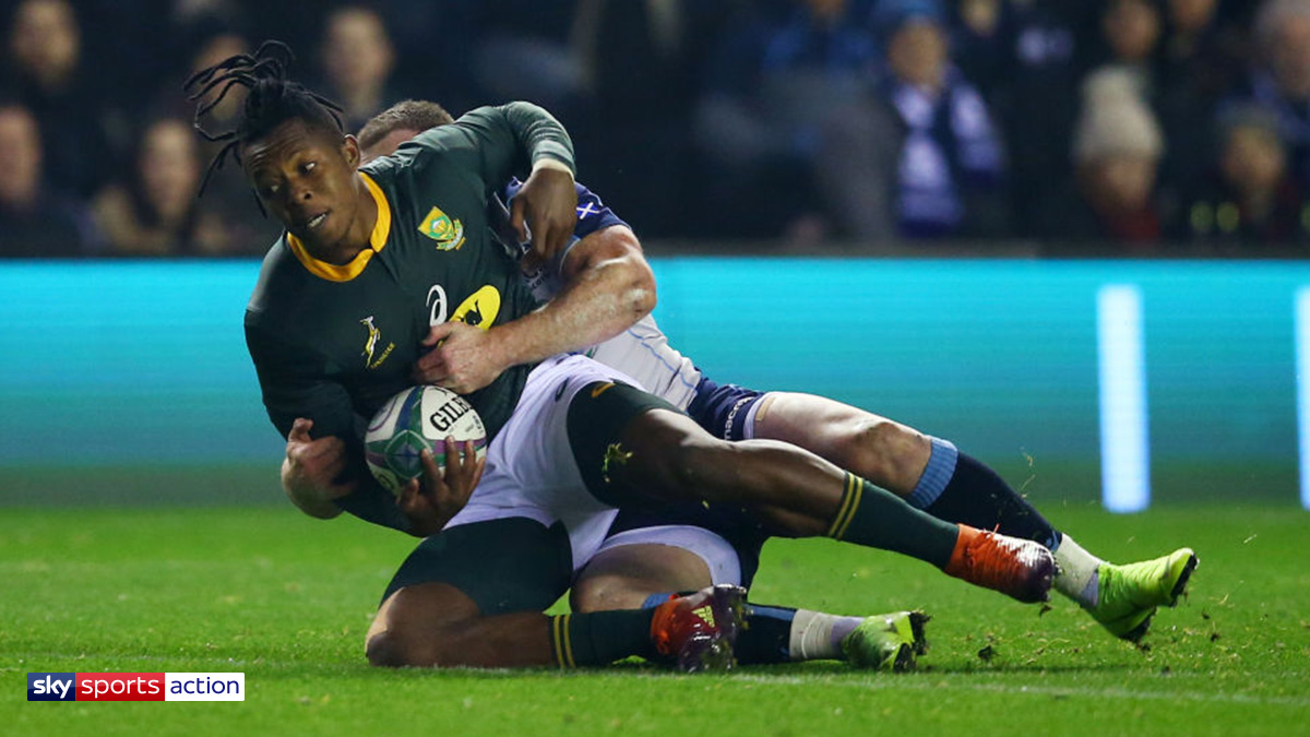 Rugby player S'busiso Nkosi playing for South Africa