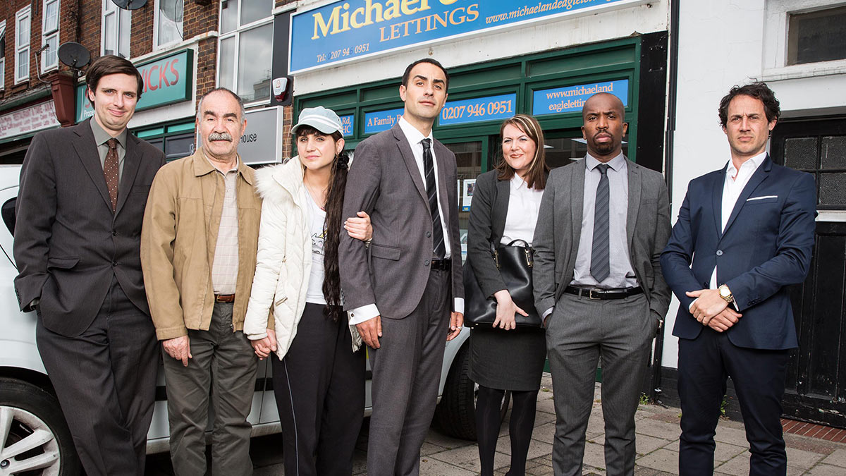 Jamie Demetriou and the cast of Stath Lets Flat series 2 on Channel 4