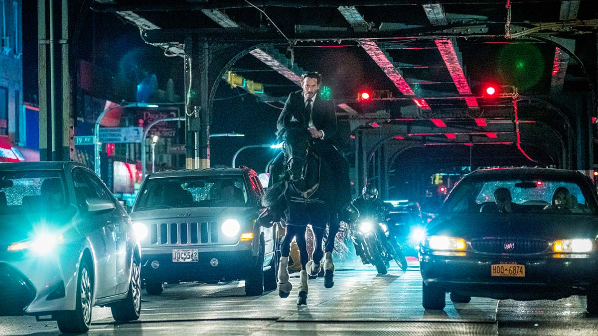 Keanu Reeves riding a horse in John Wick: Chapter 3 – Parabellum