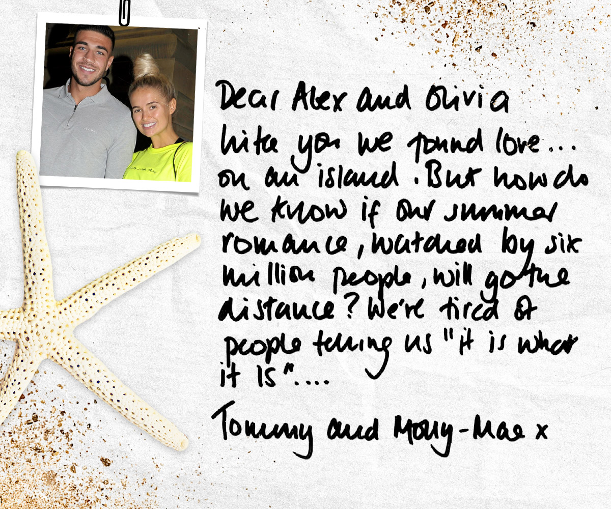 Tommy and Molly-Mae from Love Island letter