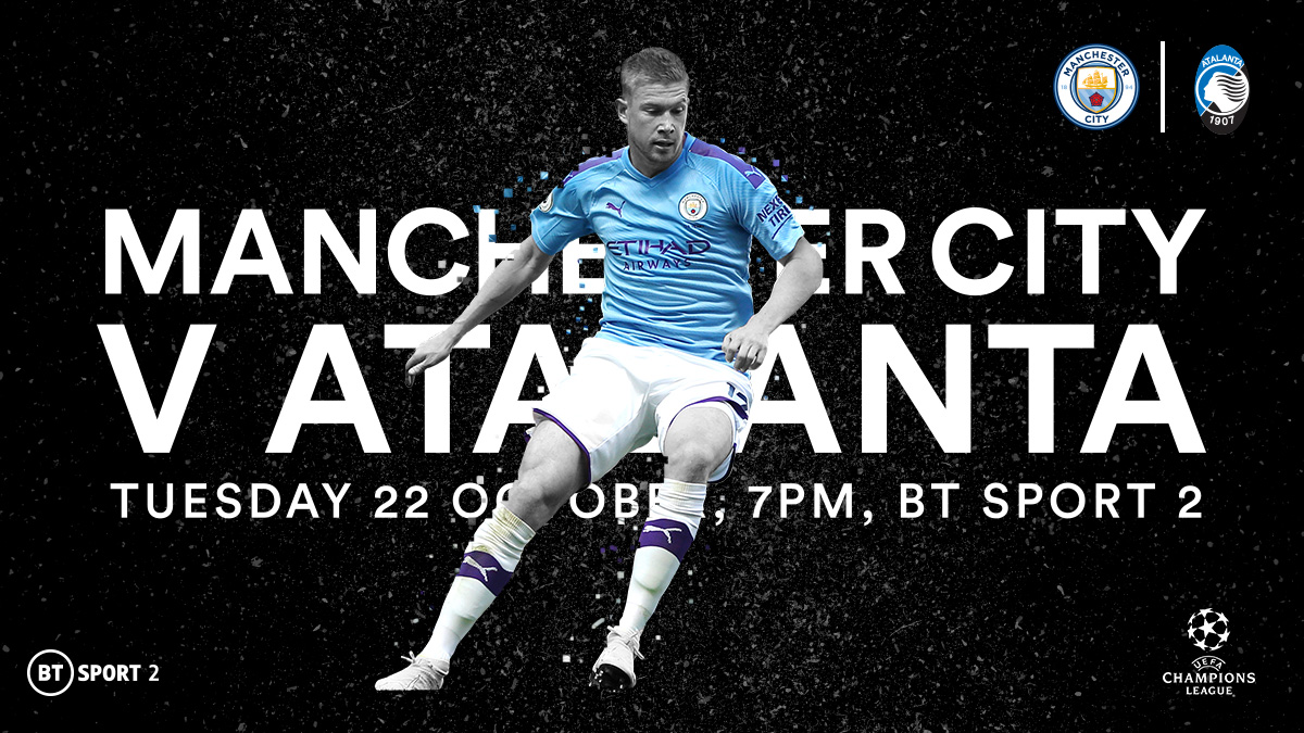 Manchester City v Atlanta in the UEFA Champions League on BT Sport