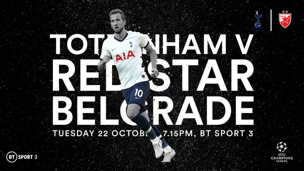 Tottenham Hotspur v Red Star Belgrade in the UEFA Champions League on BT Sport