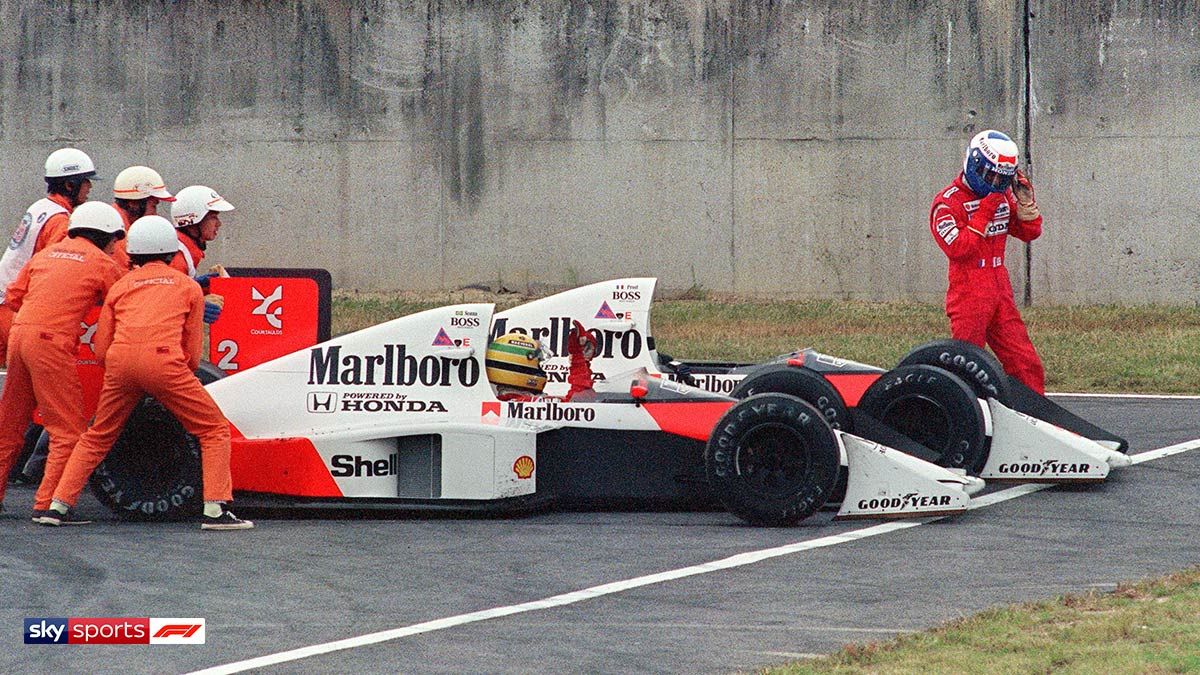Formula One drivers Ayrton Senna and Alain Prost