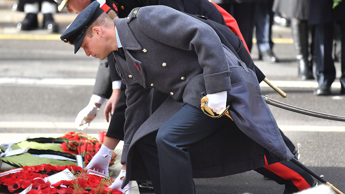 Members of the royal family laying flowers at the Cenotaph