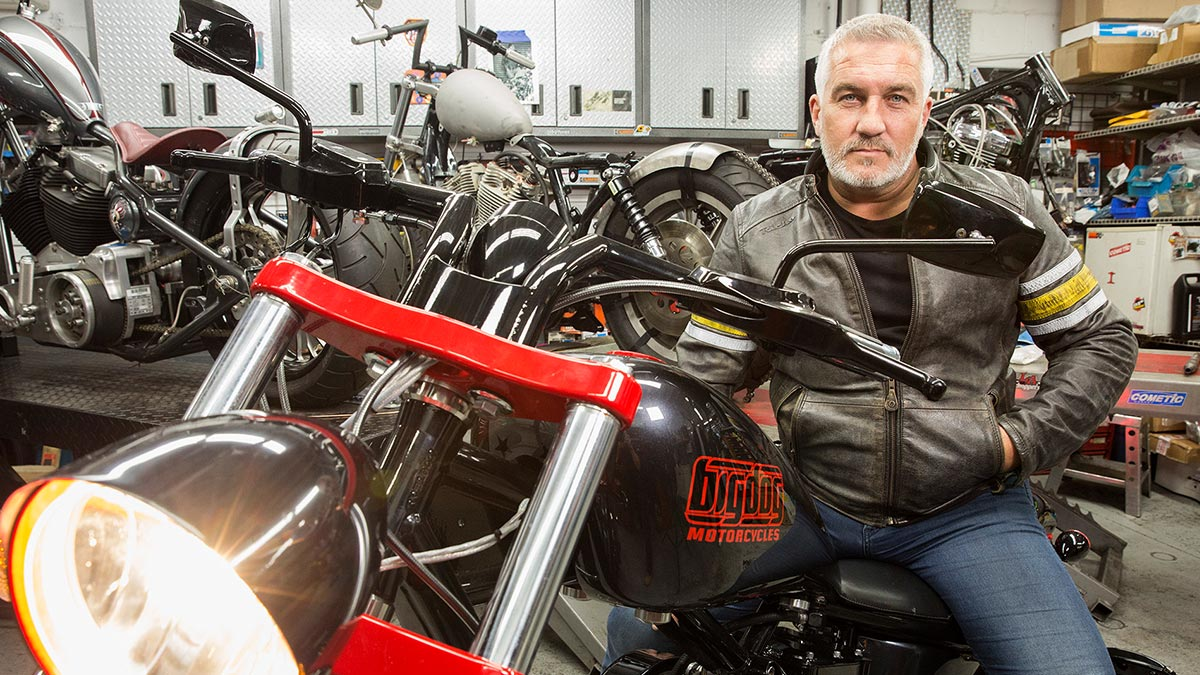 Paul Hollywood sat atop a motorcycle