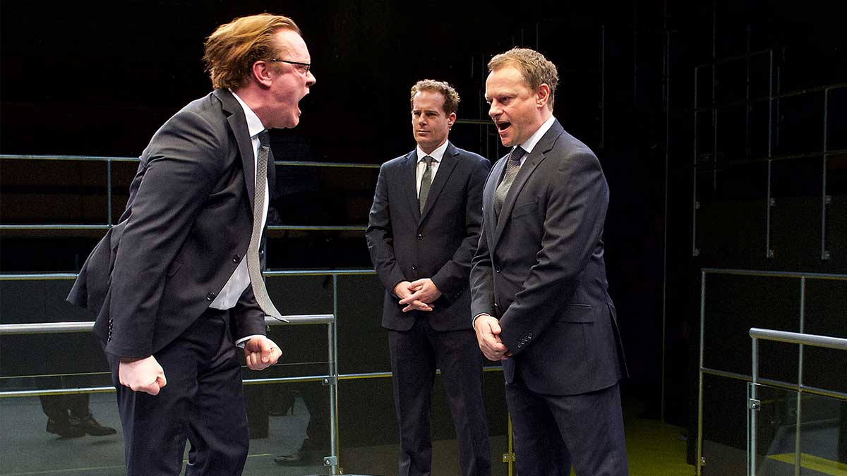Sam Troughton, Adam James, Neil Stuke in Mike Bartlett's stage play Bull