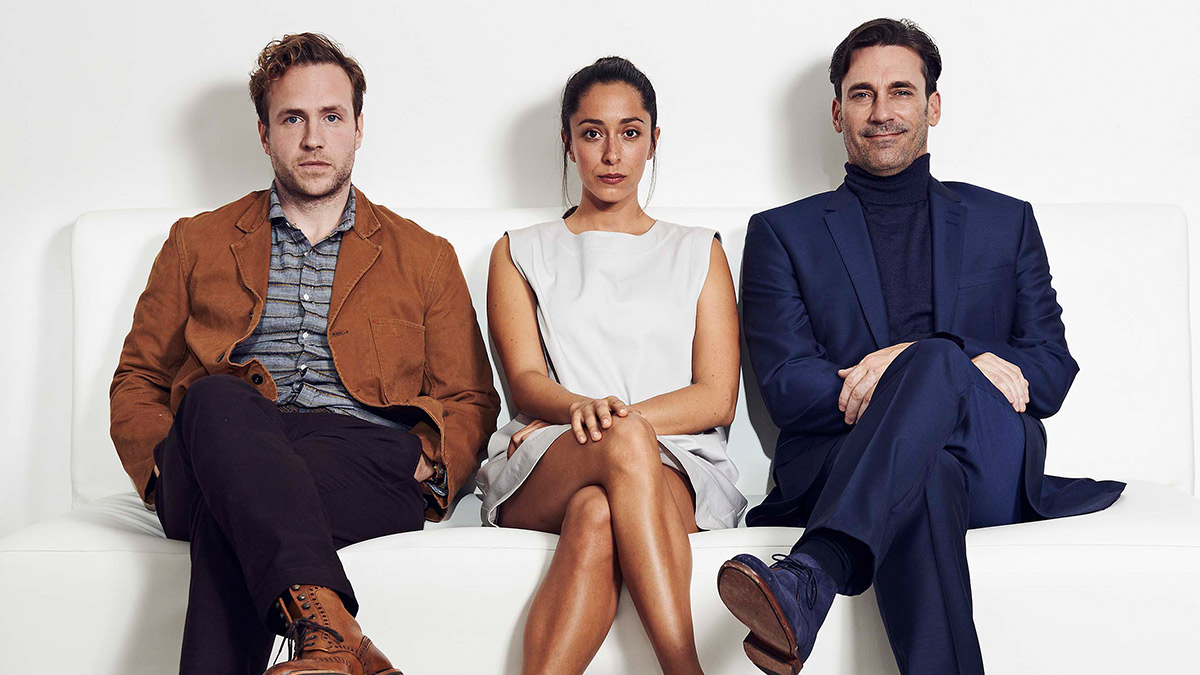 Rafe Spall, Oona Chaplin and Jon Hamm in Black Mirror: White Christmas