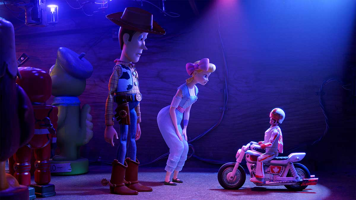 Woody, Bo Peep and Duke Caboom in Toy Story 4