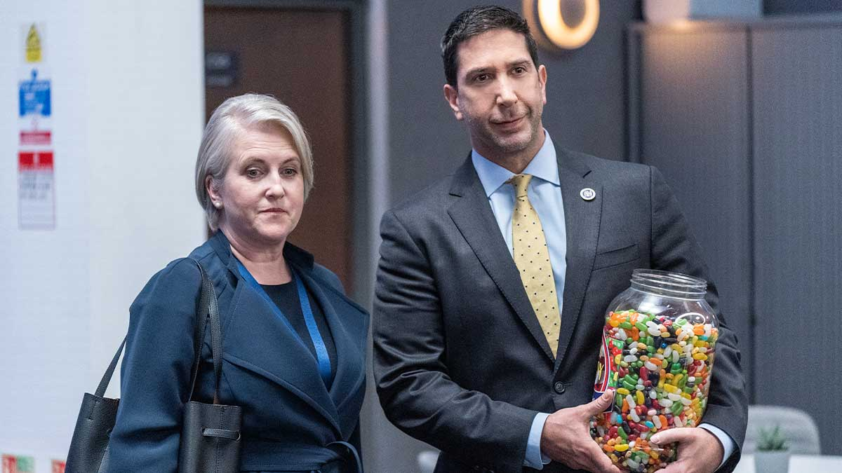 Still from Intelligence starring David Schwimmer and Sylvestra Le Touzel