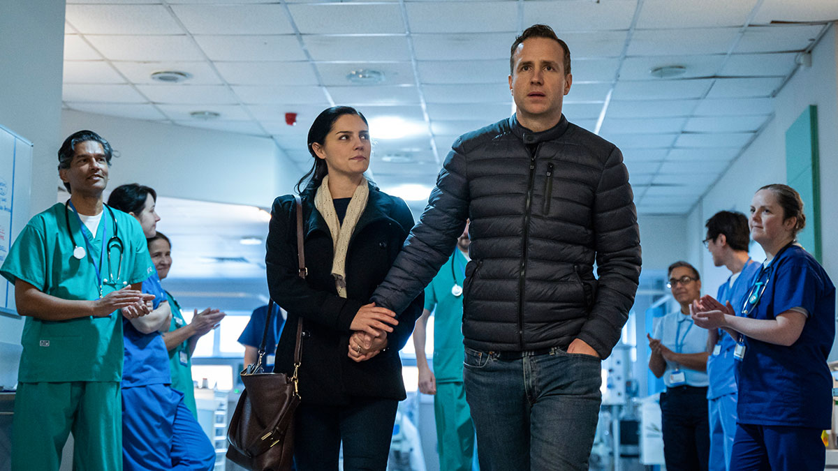 Rafe Spall and Annabel Scholey as Detective Sergeant Nick Bailey and his wife Sarah in BBC One's The Salisbury Poisonings
