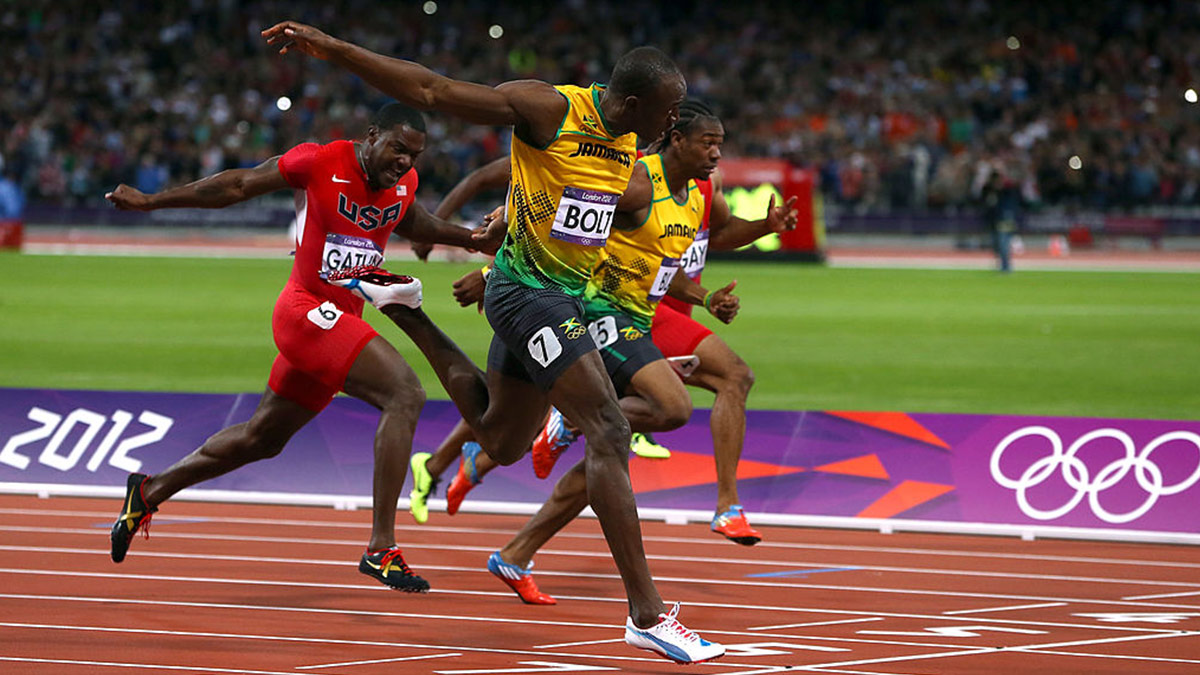 Usain Bolt wins the men's 100 metres final at the London 2012 Olympic Games