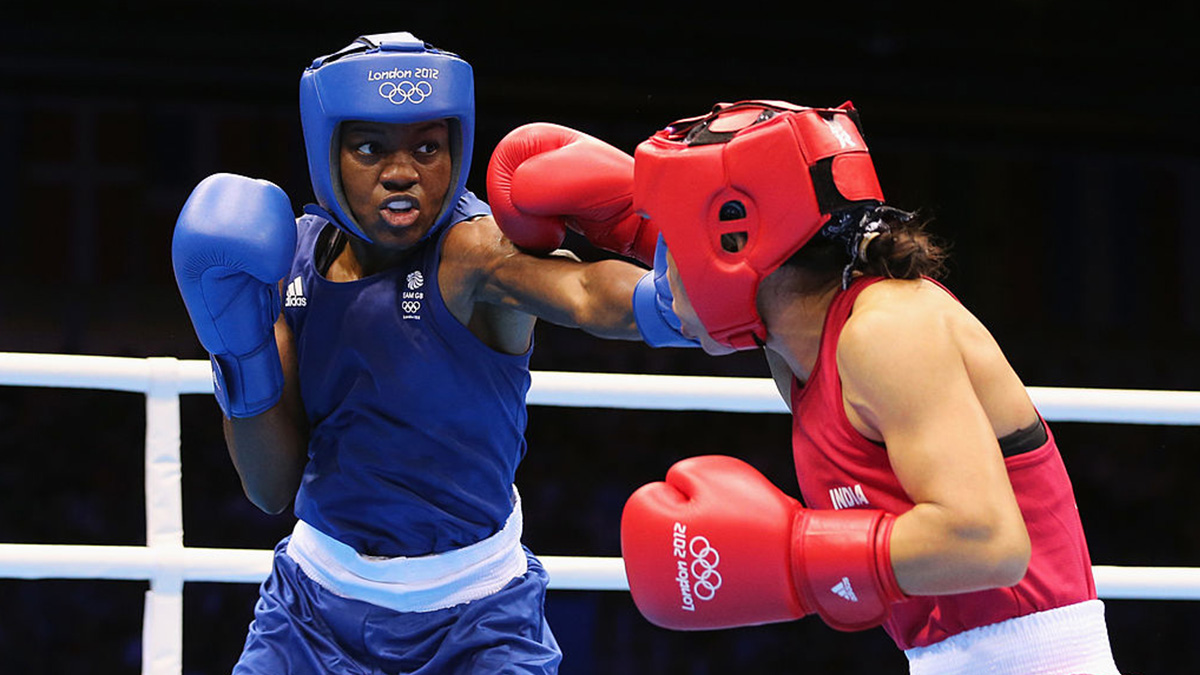 Boxer Nicola Adams in action during the London 2012 Olympic Games