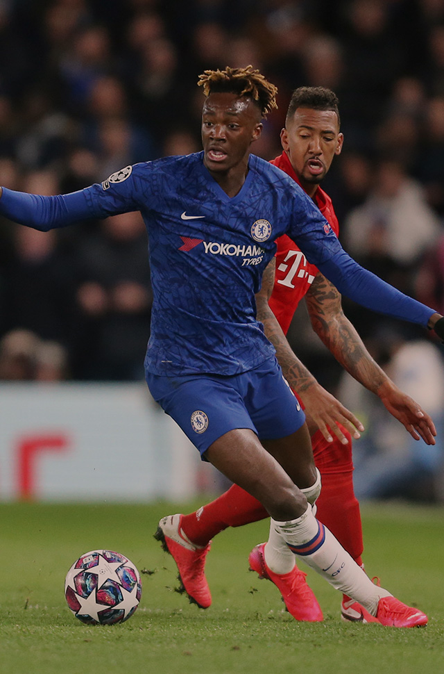 Chelsea's Tammy Abraham takes on Bayern Munich's Jerome Boateng in the UEFA Champions League