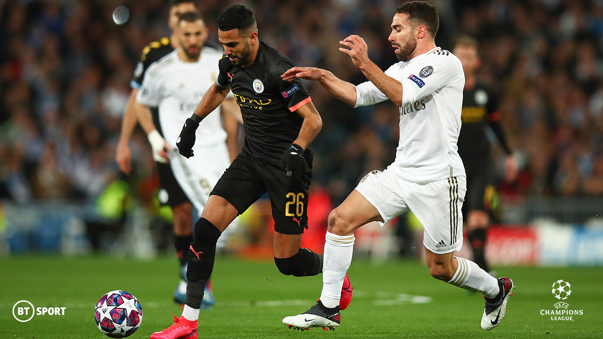 Manchester City's Riyad Mahrez runs at the Real Madrid defence in the UEFA Champions League