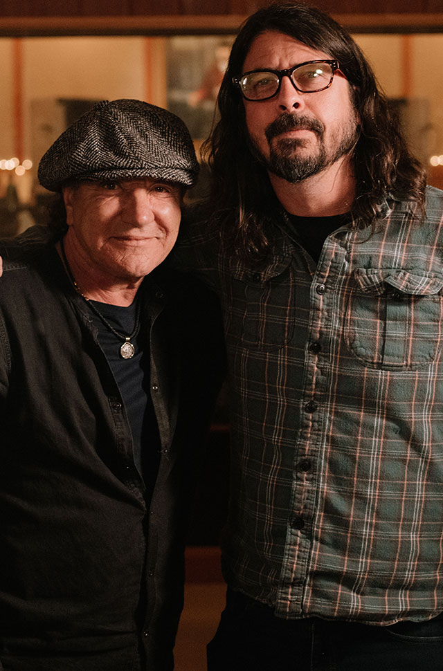 AC/DC singer Brian Johnson and Foo Fighters frontman Dave Grohl
