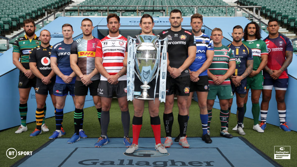 The Gallagher Premiership trophy on BT Sport