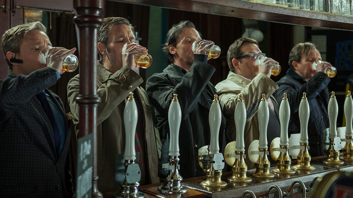 Simon Pegg, Nick Frost, Martin Freeman, Paddy Considine and Eddie Marsan in The World's End