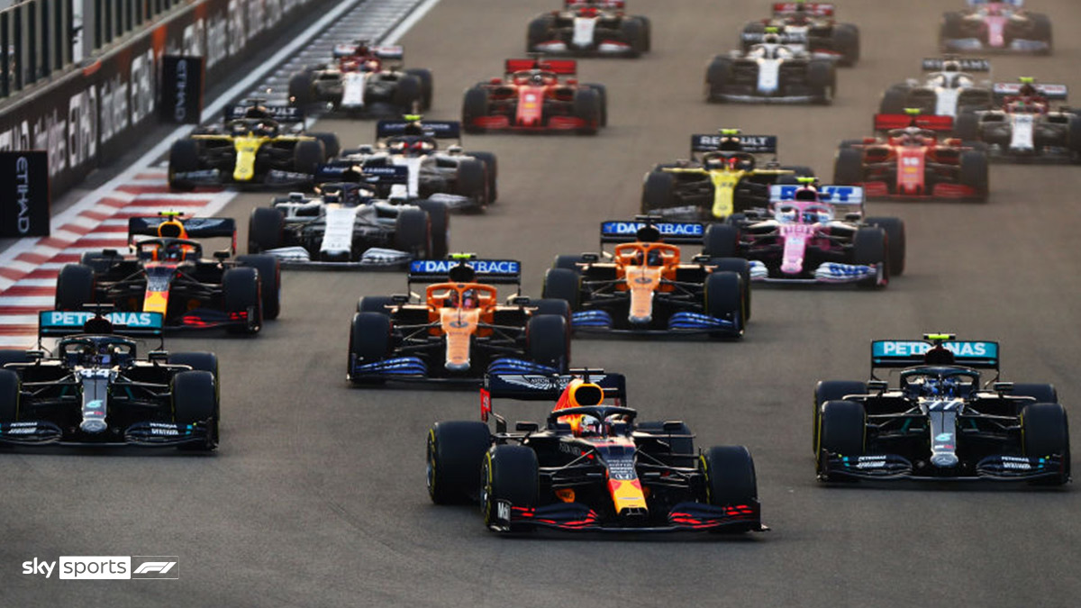 Formula One cars mid-race