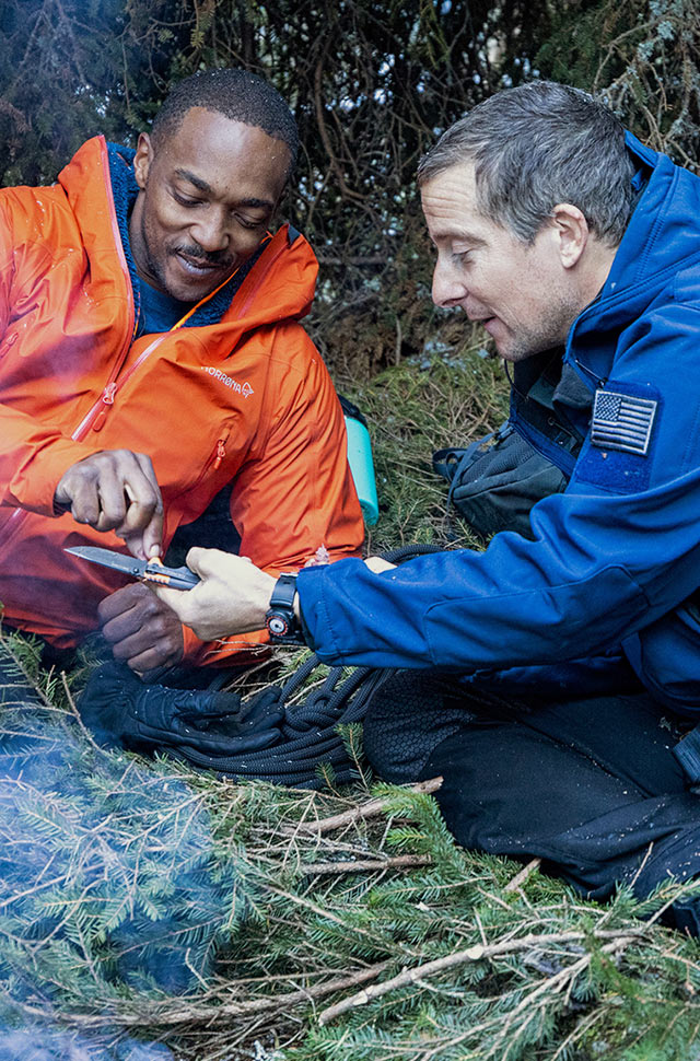 Anthony Mackie and Bear Grylls in Running Wild With Bear Grylls