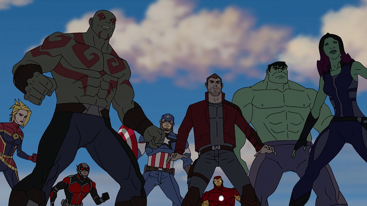 Captain Marvel, Drax, Ant-Man, Captain America, Star-Lord, Iron Man, Hulk and Gamora