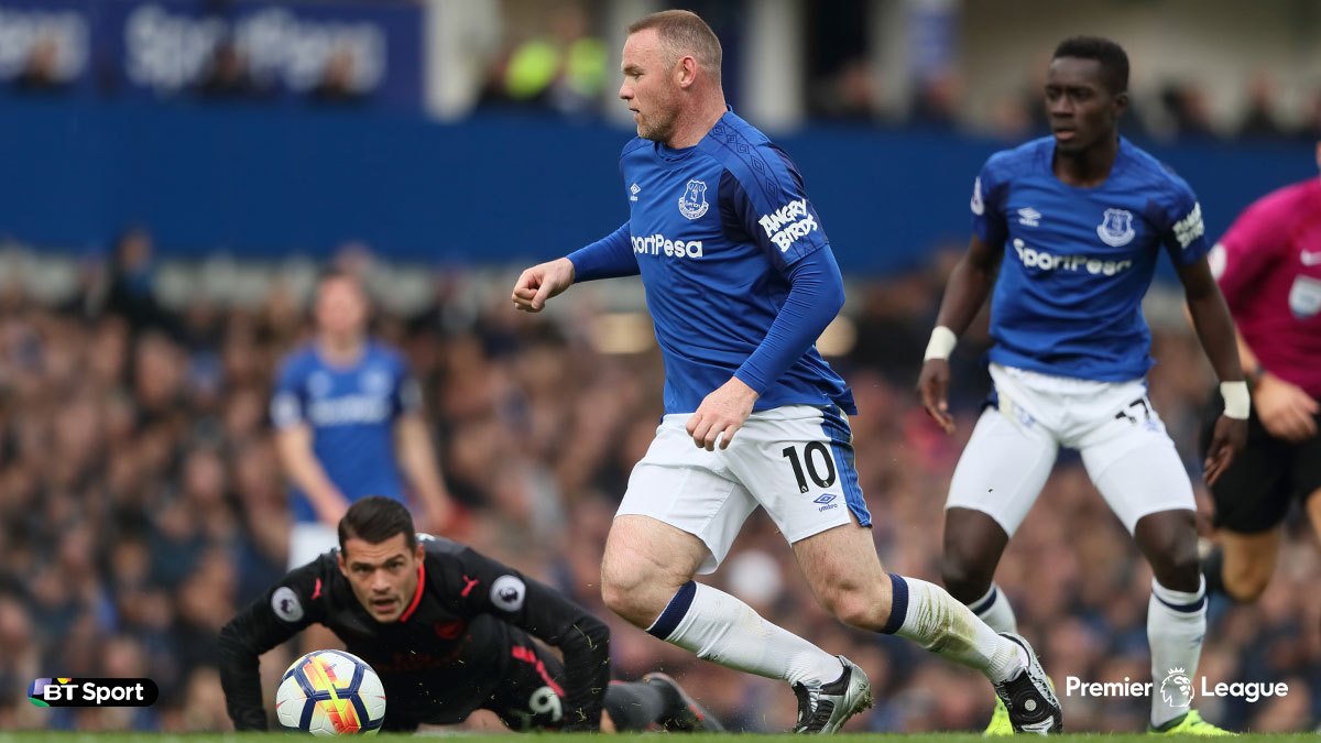 Wayne Rooney playing for Everton