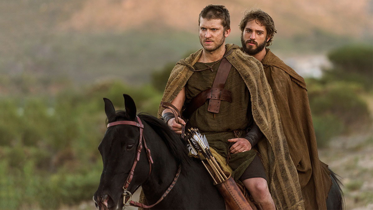 Tom Weston-Jones and Louis Hunter as Hector and Paris in Troy: Fall Of A City