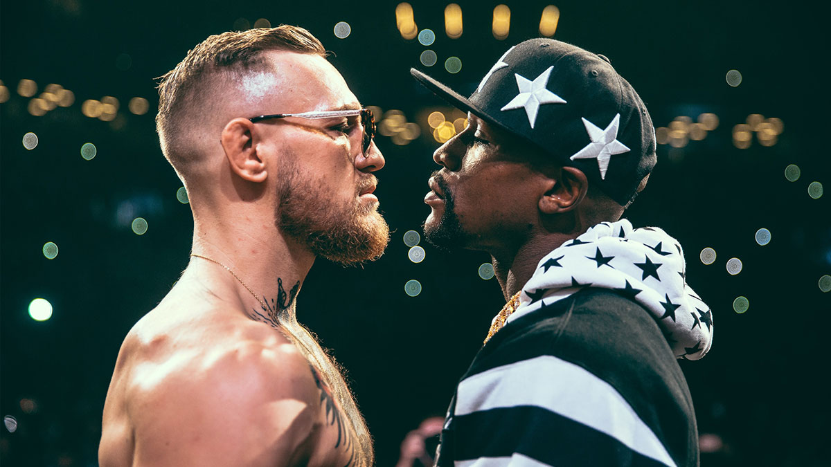 Conor McGregor squaring up to Floyd Mayweather Jr