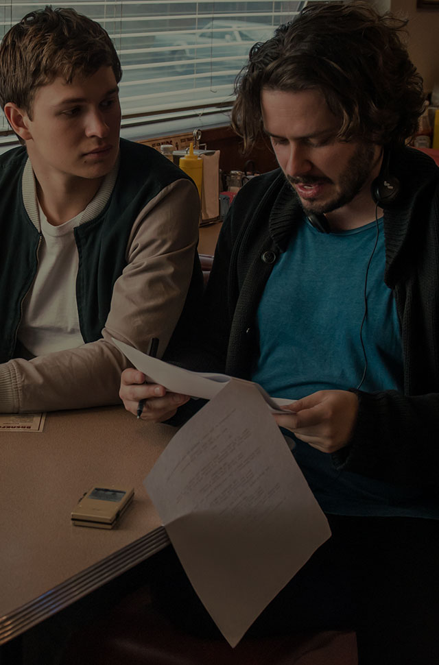 Edgar Wright with his Baby Driver star Ansel Elgort
