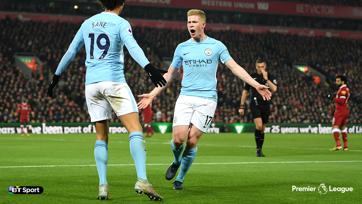 Kevin De Bruyne playing for Manchester City against Liverpool